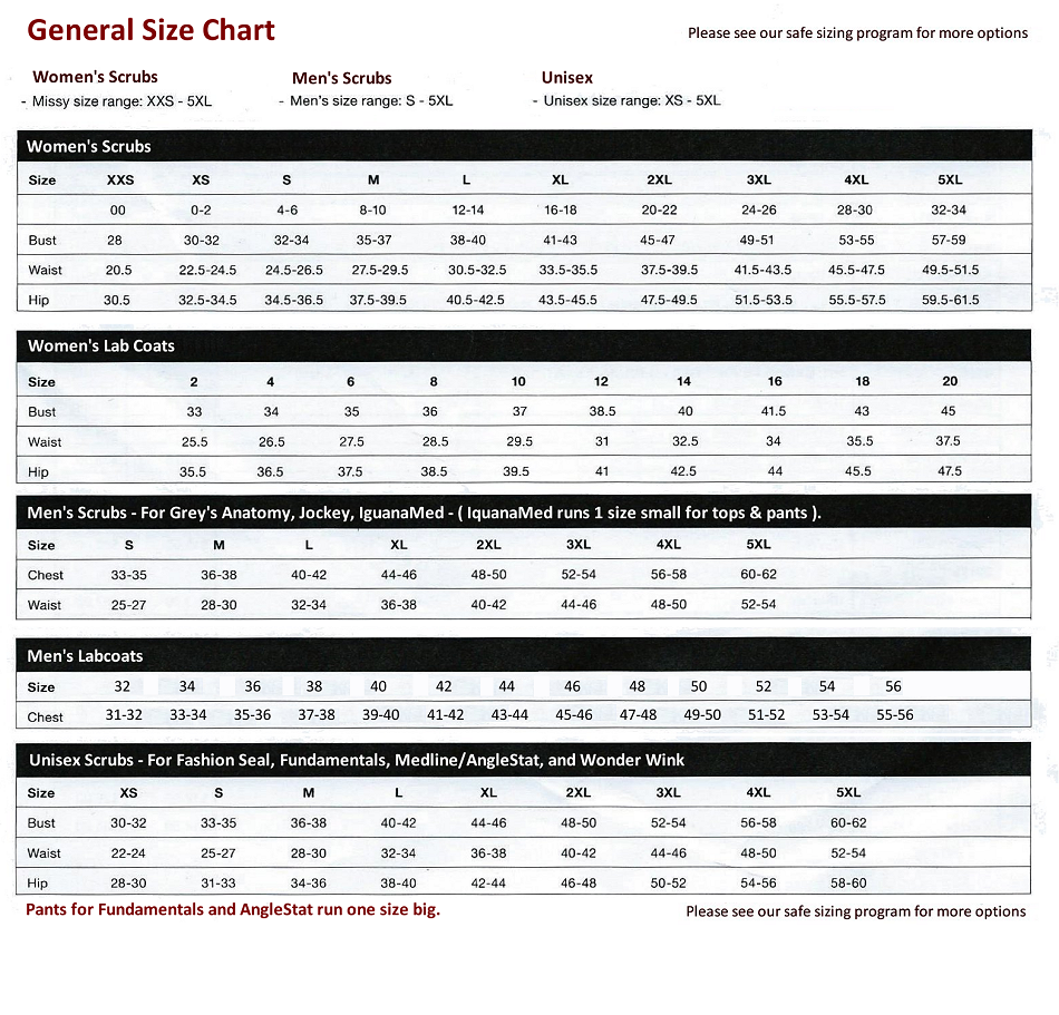 Scrub size chart general size conversion chart nvjuhfo Images