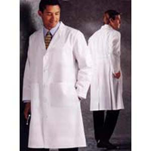 LANDAU Full-Length 100% Cotton Lab Coat with Knot Buttons